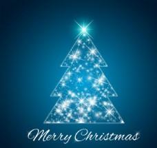 闪亮蓝色圣诞树背景矢量素材