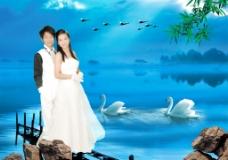 婚纱模板仙境山水画自然风景海景湖天鹅