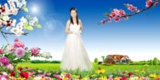 婚纱模板田园风光自然风景春夏秋冬桃花梨花
