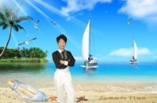 婚纱模板海景沙滩帆船海鸥椰树绿岛春夏秋冬