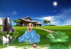 婚纱模板田园风光山水画绿色环保自然风景湖