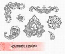 线描效果的古典花纹笔刷