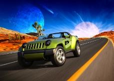 原创未来星际科幻概念jeep汽车场景合成