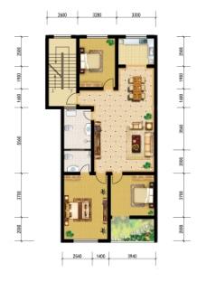 上色户型图--经典三房两厅