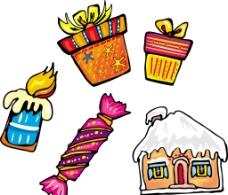卡通 蜡烛 房子图片