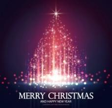 炫彩虚幻圣诞树背景矢量素材图片