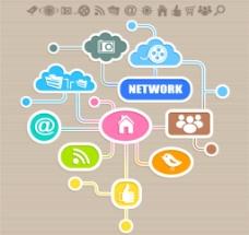 互联网络应用矢量图标图片