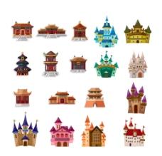 彩色经典卡通古典城堡大殿图片