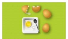 餐盤雞蛋 蛋殼 調羹 組合圖圖片