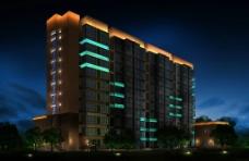 上海周浦酒店景观照明效果图图片