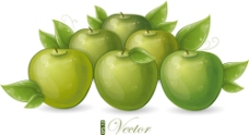 绿色手绘苹果背景图