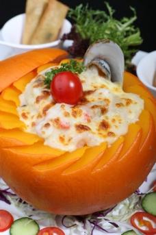 南瓜焗海鲜饭图片
