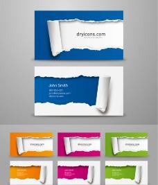 撕纸效果名片设计矢量素材图片