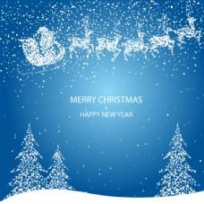 蓝色圣诞雪夜的圣诞雪橇矢量素材
