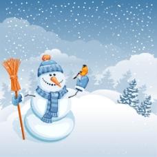 冬季雪人白色背景
