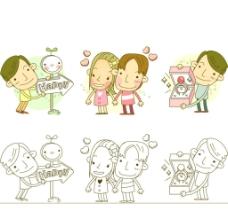 创意卡通情侣矢量素材图片