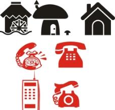 卡通房子 电话图片