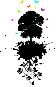 树剪影 蝴蝶图片