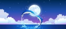 月光下的海豚图片