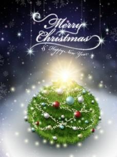 精美雪地圣诞树素材