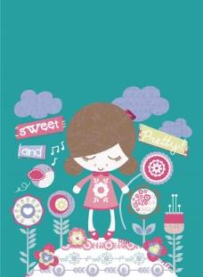 儿童插画卡通女孩图片