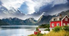 湖边小屋图片