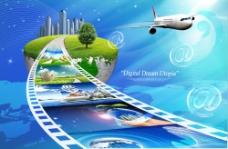 蓝色科技飞机和高楼