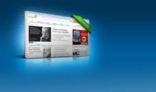 蓝色背景的立体网站