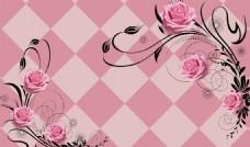 3d方格玫瑰花背景