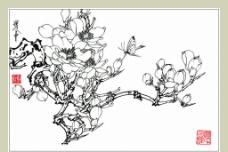 白描花卉玉兰图片
