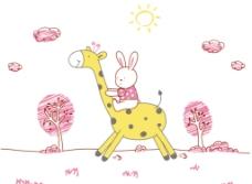 小兔和长颈鹿图片