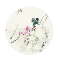 中国画扇面高清合层图片