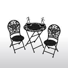 黑色花纹桌椅背景