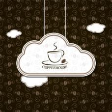 云朵咖啡吊牌矢量