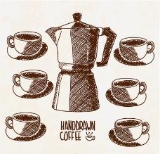 手绘咖啡壶与咖啡