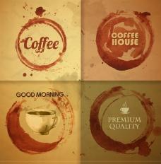 创意咖啡渍背景矢量素材
