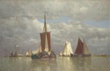 帆船风景油画图片