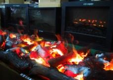 博物馆壁炉3D火焰图片