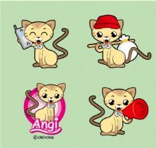 卡通猫咪 拿话筒的小猫