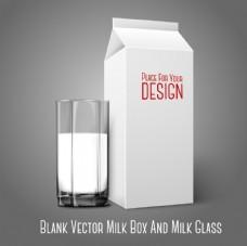 牛奶杯牛奶纸盒矢量素材