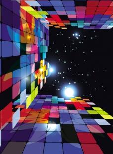 炫彩方块格子马赛克背景图片