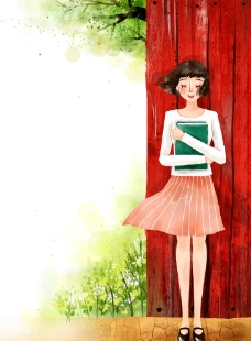 手绘抱书本的女孩风景插画图片