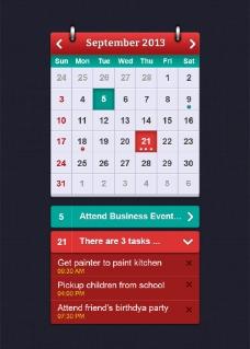 日历UI界面模板